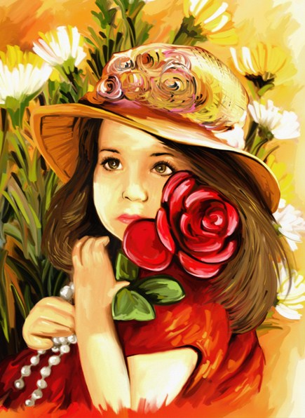 girl with flowers - painting -  from El-dorado the art gallery